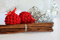 Christmas decoration ornaments decor in natural cinnamon sticks red velvet balls and heart boxes papier mache with silver Royalty Free Stock Images