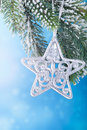Christmas decoration over blue background star Royalty Free Stock Photos