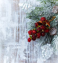 Christmas decoration on painted wood top view Royalty Free Stock Photography