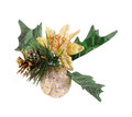 Christmas decoration with pine cone, gold apple Royalty Free Stock Photos