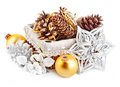 Christmas decoration with pinecone in basket on white background Stock Image