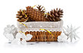 Christmas decoration with pinecone in basket on white background Stock Photography