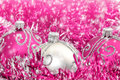 Christmas decoration pink and silver decorations Stock Photo