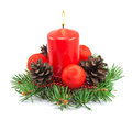 Christmas decoration with red candle Royalty Free Stock Photo