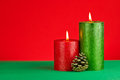 Christmas decoration red and green with candles Stock Photography