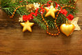 Christmas decoration, red ribbon and Xmas tree Stock Photo