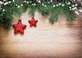 Christmas decoration. Red star on wooden background Royalty Free Stock Photo