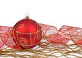 Christmas decoration red on white Stock Photography