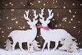 Christmas Decoration, Reindeer Couple In Love, Tree, Snowflakes