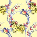 Christmas decoration, seamless patttern. Watercolor illustration on yellow background. Royalty Free Stock Photo