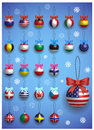 Christmas decoration set with different International flags. Christmas realistic colorful balls hanging. Royalty Free Stock Photo