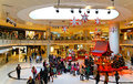 Christmas decoration in shopping mall activities of visitors around the at elements hong kong Royalty Free Stock Photos