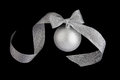 Christmas decoration silver ball on black Royalty Free Stock Photos