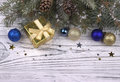 Christmas decoration with silver and blue balls stars snowflakes Royalty Free Stock Photo