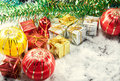Christmas decoration and snow  fake on wood background. Royalty Free Stock Photo