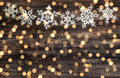 Christmas decoration snowflakes and defocused lights Royalty Free Stock Photo