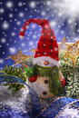 Christmas decoration with snowman at snowy night funny figurine background Stock Image