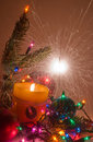 Christmas decoration with sparklers Stock Photography