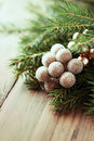 Christmas decoration with spruce twigs fresh close up Stock Photo