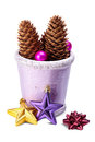 Christmas decoration (stars,pine cone, baubles, old pot) isolat