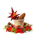 Christmas decoration stars pine cone old pot and christmas wre wreath isolated on a white Royalty Free Stock Image