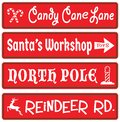 Christmas Decoration Street Signs Candy Cane Santas Workshop North Pole Reindeer Rudolf