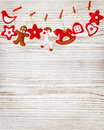 Christmas Decoration Toys Hanging White Wood Wall Background Royalty Free Stock Photo