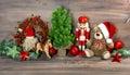 Christmas decoration with toys teddy bear and nutcracker Royalty Free Stock Photo