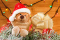 Christmas decoration, toys teddy bear. Xmas concept Royalty Free Stock Photo