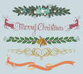 Christmas decoration vector illustration of with three more choices of original typo greetings in eps format Royalty Free Stock Image