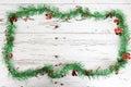 Christmas decoration on white wood weathered background Stock Image