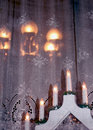 Christmas decoration on window board Royalty Free Stock Photos