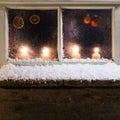 Christmas decoration on a window romantic Stock Image