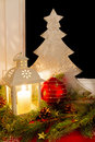 Christmas decoration on a window sill with latern at home Stock Image
