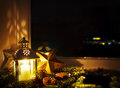 Christmas decoration on a window sill with latern at home Stock Photos