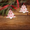 Christmas decoration, on wood background, Norwegian Christmas tree ornament Royalty Free Stock Photo
