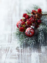 Christmas decoration on a wooden background painted wood close up Stock Photos