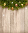 Christmas decoration on wooden background vector Royalty Free Stock Image