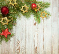 Christmas decoration on wooden board old Stock Photo