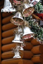 Christmas decoration on wooden house Royalty Free Stock Images