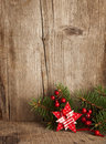 Christmas decoration on wooden plank Stock Photo