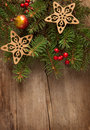 Christmas decoration on wooden plank Stock Images
