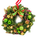 Christmas decoration wreath isolated on white Royalty Free Stock Photo