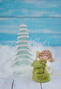 Christmas decorations with angel and fir tree Stock Images