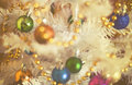 Christmas decorations on artificial fir, xmass background vintage effect Royalty Free Stock Photo