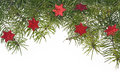Christmas decorations background spruce twig green star stars Royalty Free Stock Photo