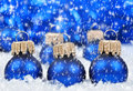 Christmas decorations blue in snow Stock Photos
