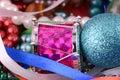 Christmas decorations border, new year invitation card Royalty Free Stock Photos