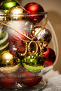 Christmas decorations in bowl Stock Photos