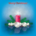 Christmas decorations and candle Royalty Free Stock Photos